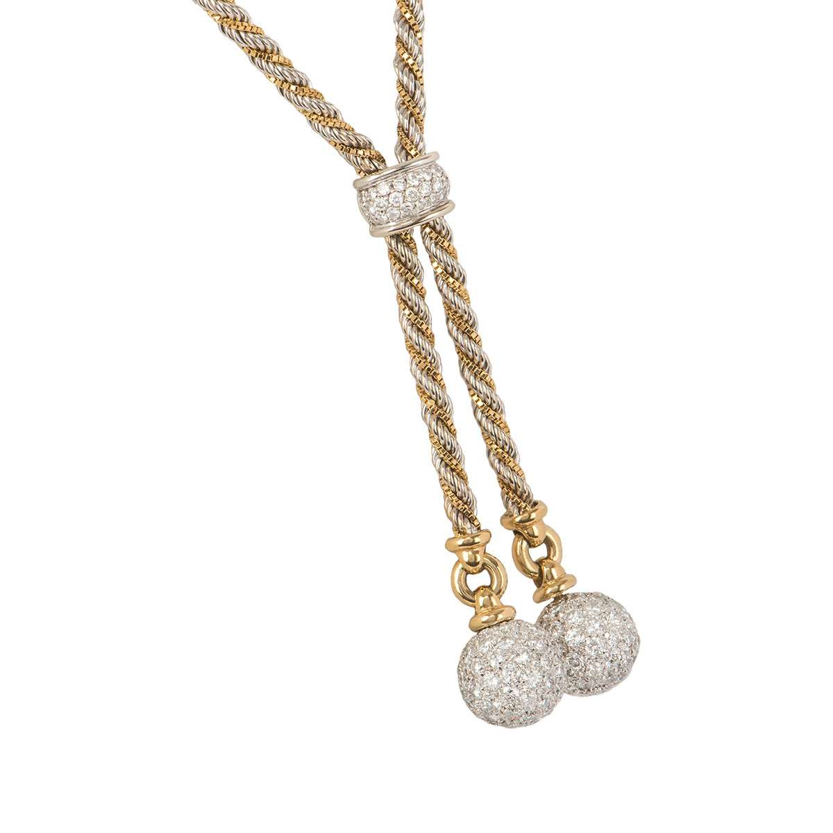 Yellow And White Gold Diamond Ball Necklace